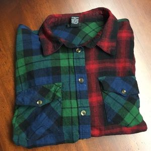 Tops - NEW 😎 Patchwork Flannel Shirt